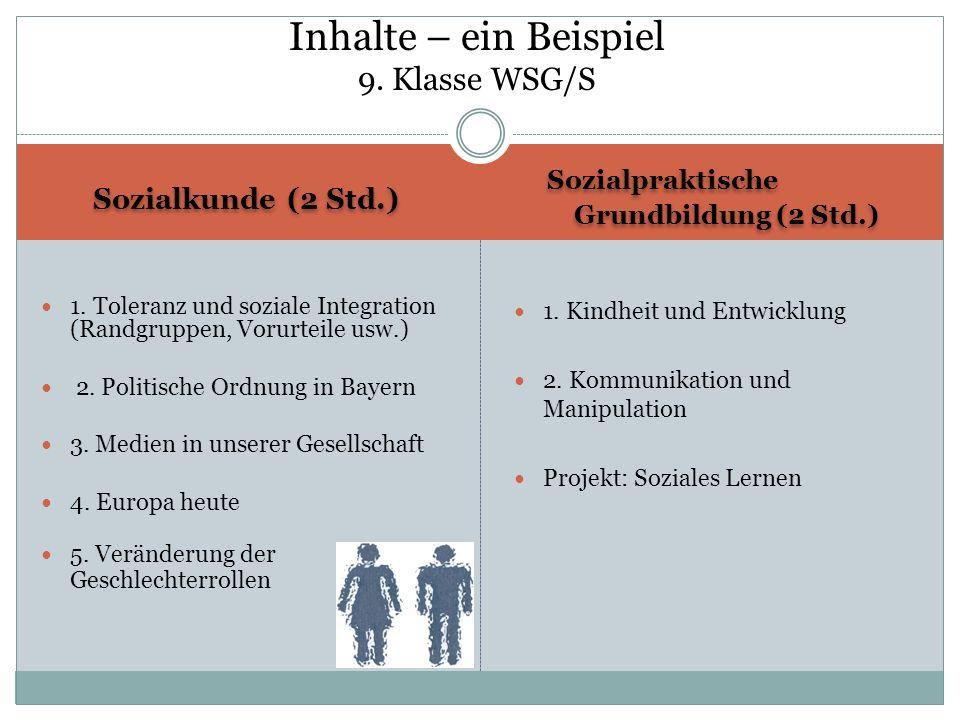 Sozialkunde (2 Std.) Sozialpraktische Grundbildung (2 Std.) Sozialpraktische Grundbildung (2 Std.) 1. Toleranz und soziale Integration (Randgruppen, V