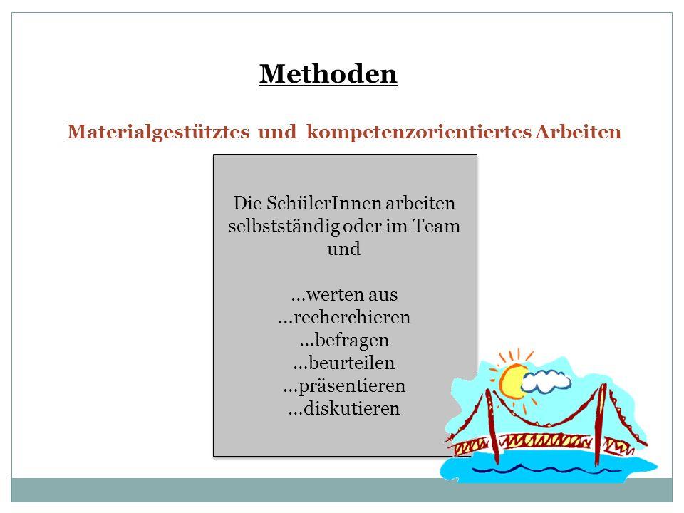Methoden Materialgestütztes und kompetenzorientiertes Arbeiten Die SchülerInnen arbeiten selbstständig oder im Team und …werten aus …recherchieren …be