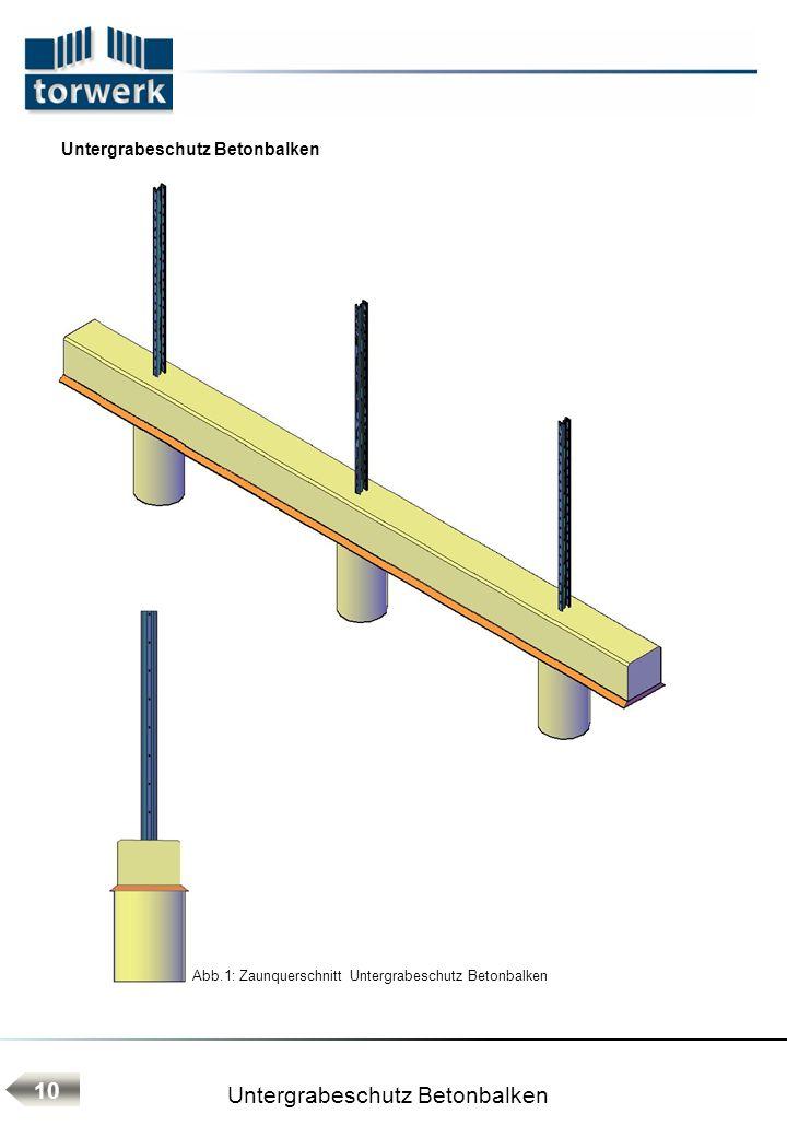 Untergrabeschutz Betonbalken Abb.1: Zaunquerschnitt Untergrabeschutz Betonbalken 10