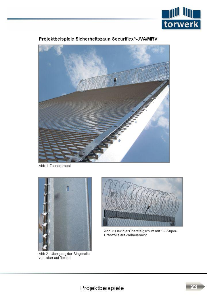 Projektbeispiele Sicherheitszaun Securiflex ® -JVA/MRV Abb.2: Übergang der Stegbreite von starr auf flexibel Abb.1: Zaunelement Projektbeispiele Abb.3