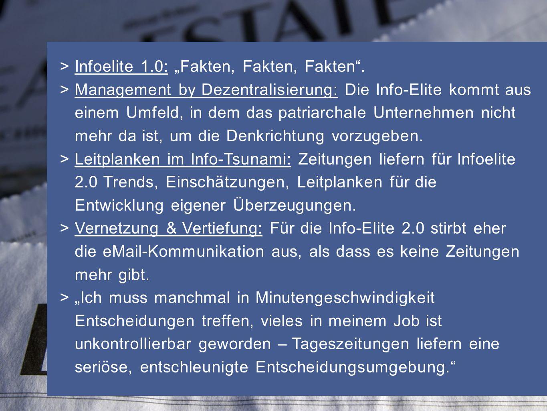 > Infoelite 1.0: Fakten, Fakten, Fakten. > Management by Dezentralisierung: Die Info-Elite kommt aus einem Umfeld, in dem das patriarchale Unternehmen