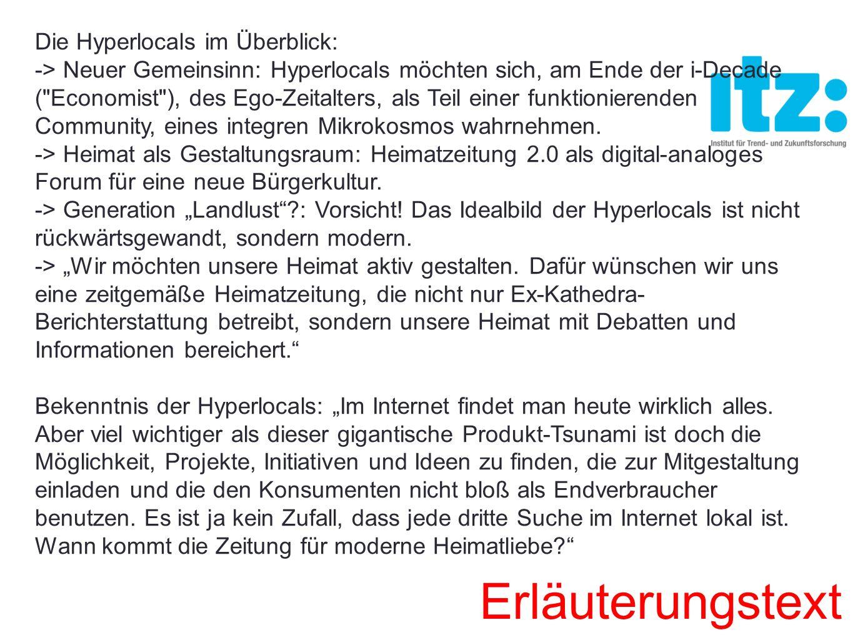 Die Hyperlocals im Überblick: -> Neuer Gemeinsinn: Hyperlocals möchten sich, am Ende der i-Decade (