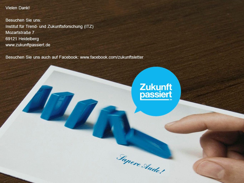 Vielen Dank! Besuchen Sie uns: Institut für Trend- und Zukunftsforschung (ITZ) Mozartstraße 7 69121 Heidelberg www.zukunftpassiert.de Besuchen Sie uns