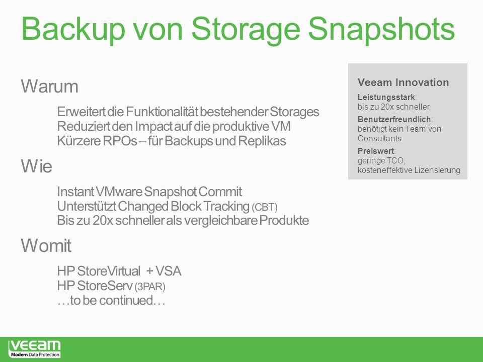 Backup von Storage Snapshots Veeam Innovation Leistungsstark: bis zu 20x schneller Benutzerfreundlich: benötigt kein Team von Consultants Preiswert: geringe TCO, kosteneffektive Lizensierung
