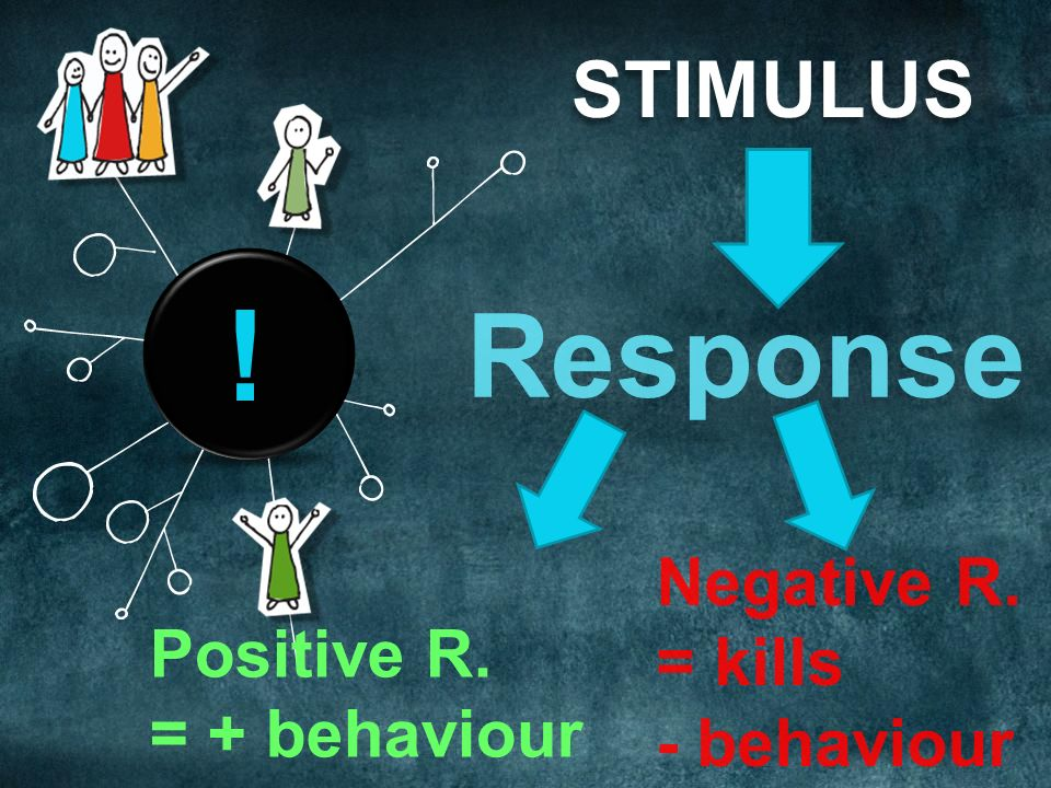 STIMULUS Response Positive R. = + behaviour ! Negative R. = kills - behaviour