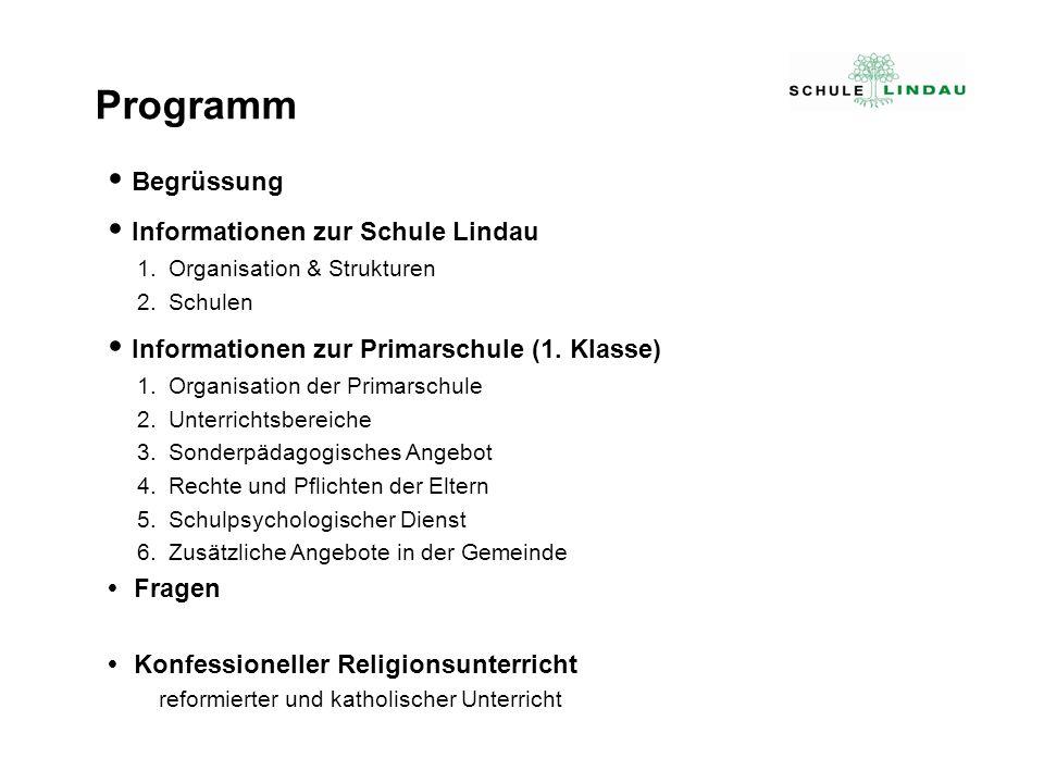Begrüssung Informationen zur Schule Lindau 1.Organisation & Strukturen 2.Schulen Informationen zur Primarschule (1. Klasse) 1.Organisation der Primars