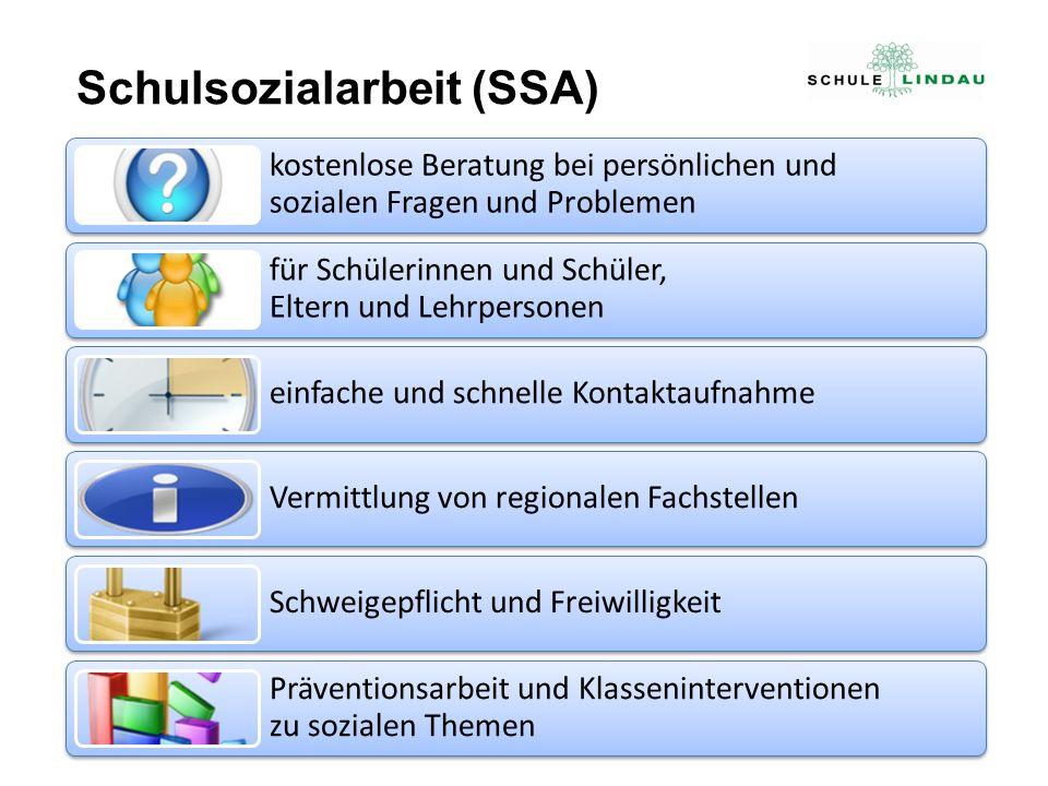 Schulsozialarbeit (SSA) kostenlose Beratung bei persönlichen und sozialen Fragen und Problemen für Schülerinnen und Schüler, Eltern und Lehrpersonen e