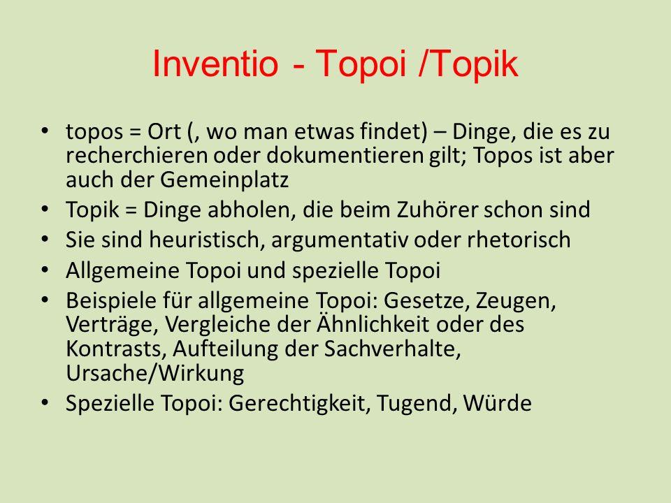 Inventio - Topoi /Topik topos = Ort (, wo man etwas findet) – Dinge, die es zu recherchieren oder dokumentieren gilt; Topos ist aber auch der Gemeinpl