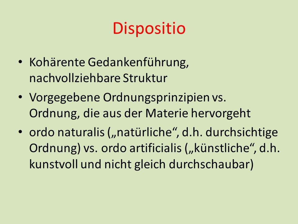 Dispositio Kohärente Gedankenführung, nachvollziehbare Struktur Vorgegebene Ordnungsprinzipien vs. Ordnung, die aus der Materie hervorgeht ordo natura