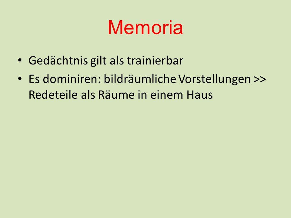 Memoria Gedächtnis gilt als trainierbar Es dominiren: bildräumliche Vorstellungen >> Redeteile als Räume in einem Haus