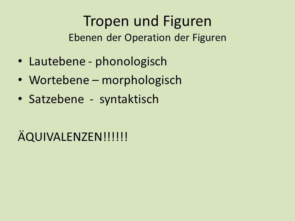 Tropen und Figuren Ebenen der Operation der Figuren Lautebene - phonologisch Wortebene – morphologisch Satzebene - syntaktisch ÄQUIVALENZEN!!!!!!