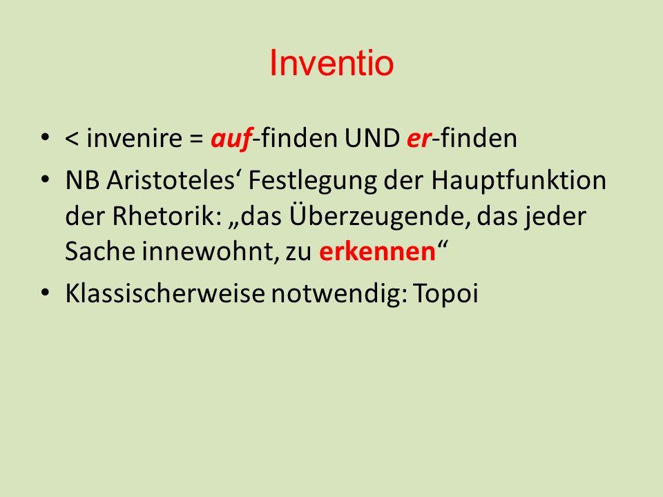 Inventio < invenire = auf-finden UND er-finden NB Aristoteles Festlegung der Hauptfunktion der Rhetorik: das Überzeugende, das jeder Sache innewohnt, zu erkennen Klassischerweise notwendig: Topoi
