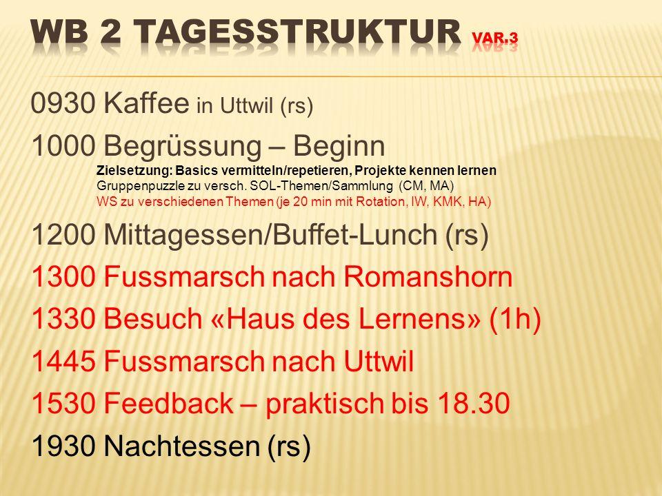 0930 Kaffee in Uttwil (rs) 1000 Begrüssung – Beginn Zielsetzung: Basics vermitteln/repetieren, Projekte kennen lernen Gruppenpuzzle zu versch. SOL-The