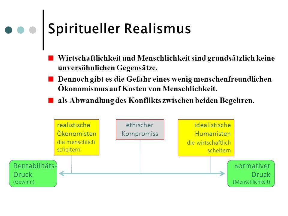 Spiritueller Realismus Wirtschaftlichkeit und Menschlichkeit sind grundsätzlich keine unversöhnlichen Gegensätze. Dennoch gibt es die Gefahr eines wen