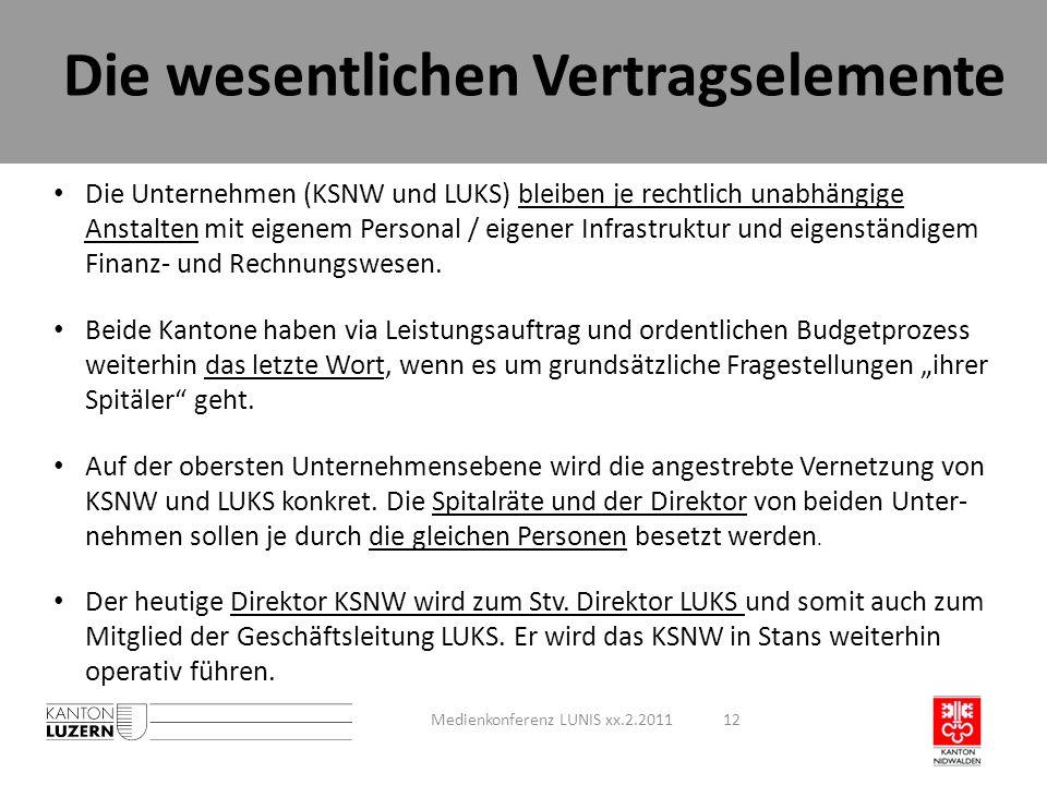 Die wesentlichen Vertragselemente Die Unternehmen (KSNW und LUKS) bleiben je rechtlich unabhängige Anstalten mit eigenem Personal / eigener Infrastruk