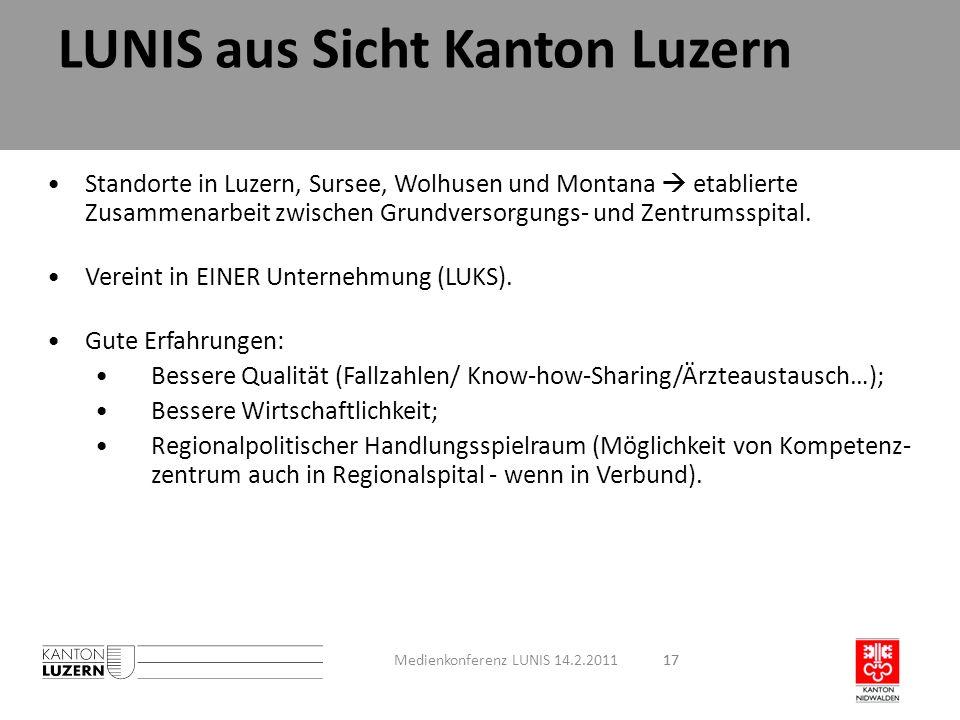 17 Standorte in Luzern, Sursee, Wolhusen und Montana etablierte Zusammenarbeit zwischen Grundversorgungs- und Zentrumsspital. Vereint in EINER Unterne