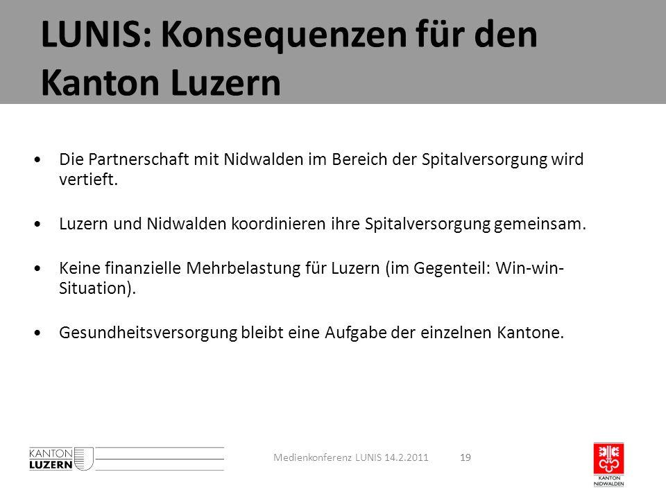 19 Die Partnerschaft mit Nidwalden im Bereich der Spitalversorgung wird vertieft. Luzern und Nidwalden koordinieren ihre Spitalversorgung gemeinsam. K