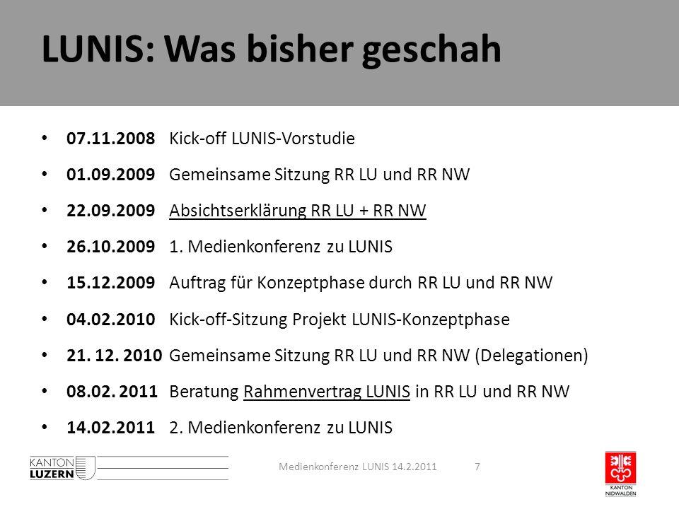 LUNIS: Was bisher geschah 07.11.2008Kick-off LUNIS-Vorstudie 01.09.2009Gemeinsame Sitzung RR LU und RR NW 22.09.2009Absichtserklärung RR LU + RR NW 26