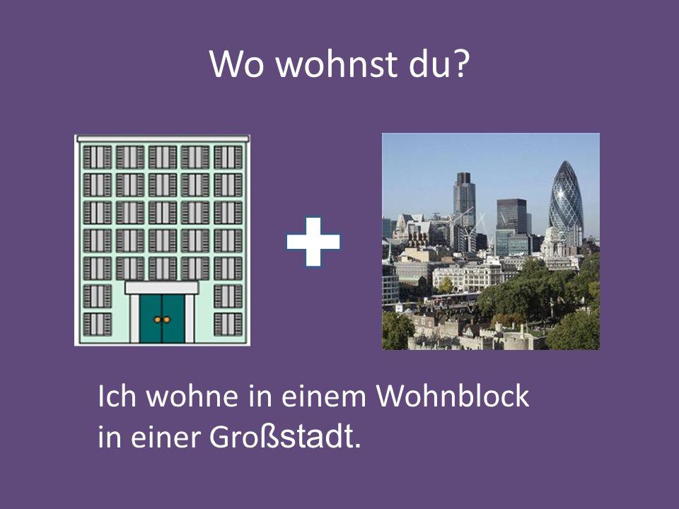Wo wohnst du? Ich wohne in einem Wohnblock in einer Gro ßstadt.