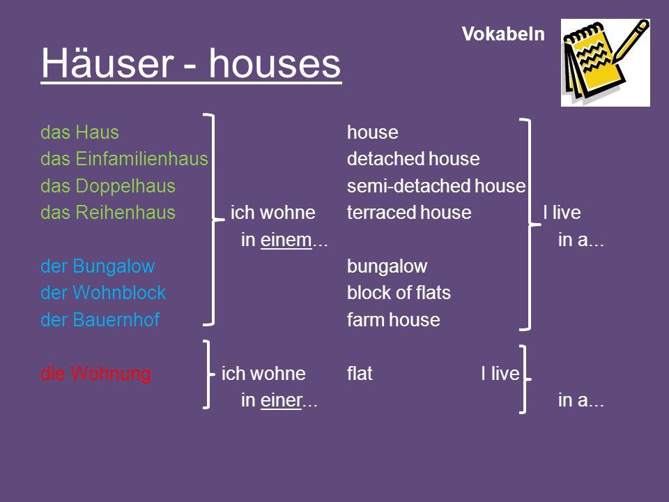 Vokabeln Häuser - houses das Haus das Einfamilienhaus das Doppelhaus das Reihenhaus ich wohne in einem... der Bungalow der Wohnblock der Bauernhof die