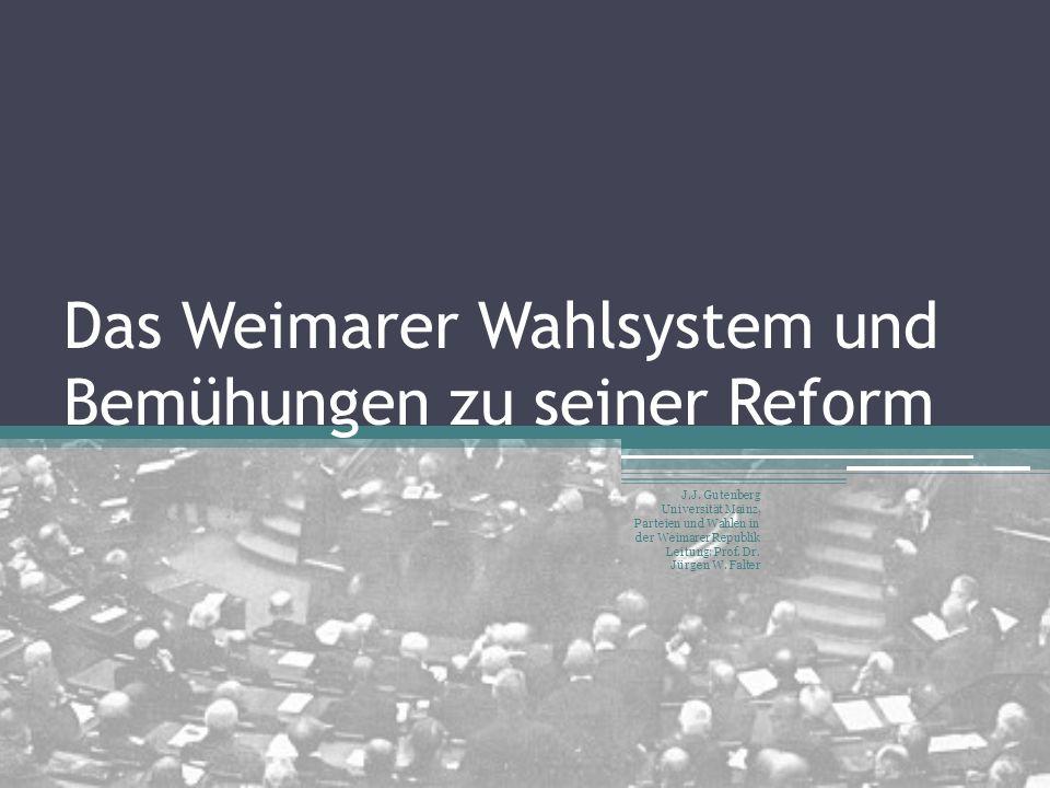 Das Weimarer Wahlsystem und Bemühungen zu seiner Reform J.J. Gutenberg Universität Mainz, Parteien und Wahlen in der Weimarer Republik Leitung: Prof.