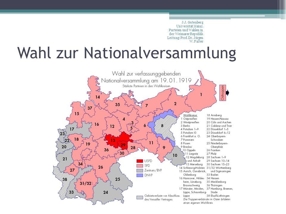 Wahl zur Nationalversammlung J.J. Gutenberg Universität Mainz, Parteien und Wahlen in der Weimarer Republik Leitung: Prof. Dr. Jürgen W. Falter