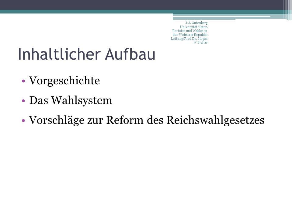 Inhaltlicher Aufbau Vorgeschichte Das Wahlsystem Vorschläge zur Reform des Reichswahlgesetzes J.J. Gutenberg Universität Mainz, Parteien und Wahlen in