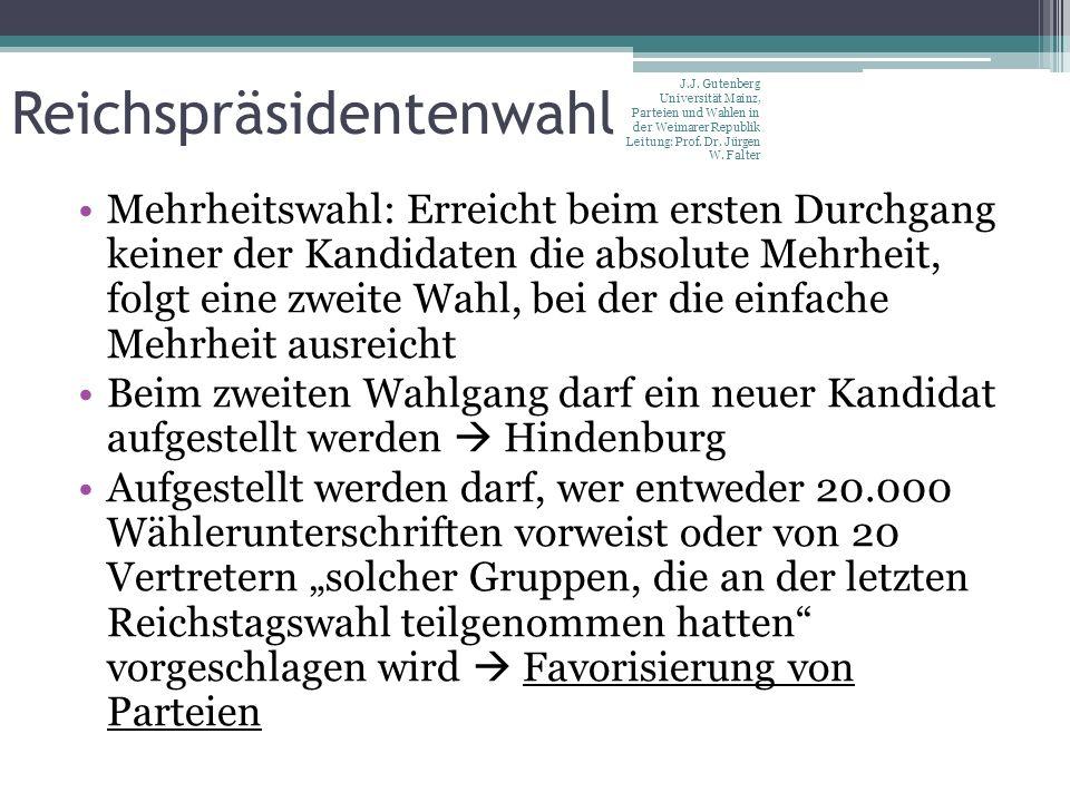 Reichspräsidentenwahl Mehrheitswahl: Erreicht beim ersten Durchgang keiner der Kandidaten die absolute Mehrheit, folgt eine zweite Wahl, bei der die e
