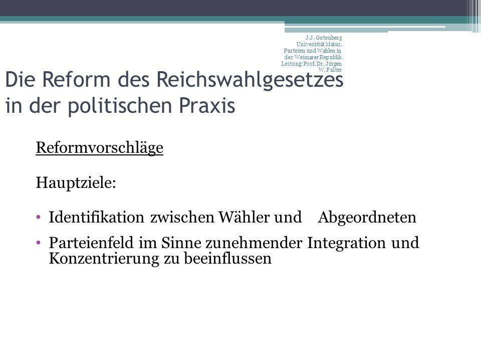 Die Reform des Reichswahlgesetzes in der politischen Praxis Reformvorschläge Hauptziele: Identifikation zwischen Wähler und Abgeordneten Parteienfeld im Sinne zunehmender Integration und Konzentrierung zu beeinflussen J.J.