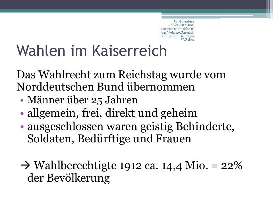 Wahlen im Kaiserreich Das Wahlrecht zum Reichstag wurde vom Norddeutschen Bund übernommen Männer über 25 Jahren allgemein, frei, direkt und geheim ausgeschlossen waren geistig Behinderte, Soldaten, Bedürftige und Frauen Wahlberechtigte 1912 ca.