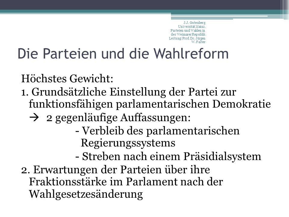 Die Parteien und die Wahlreform Höchstes Gewicht: 1. Grundsätzliche Einstellung der Partei zur funktionsfähigen parlamentarischen Demokratie 2 gegenlä