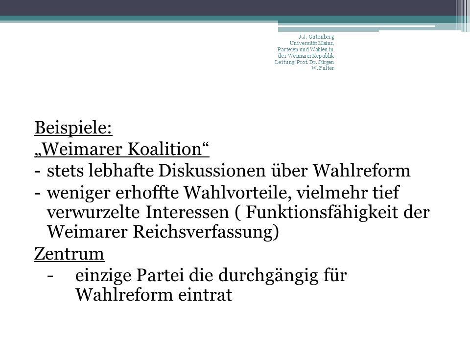 Beispiele: Weimarer Koalition -stets lebhafte Diskussionen über Wahlreform -weniger erhoffte Wahlvorteile, vielmehr tief verwurzelte Interessen ( Funktionsfähigkeit der Weimarer Reichsverfassung) Zentrum -einzige Partei die durchgängig für Wahlreform eintrat J.J.