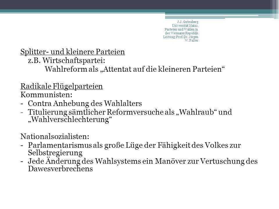 Splitter- und kleinere Parteien z.B.