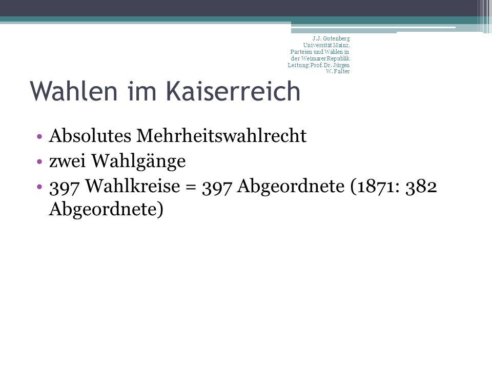 Wahlen im Kaiserreich Absolutes Mehrheitswahlrecht zwei Wahlgänge 397 Wahlkreise = 397 Abgeordnete (1871: 382 Abgeordnete) J.J.