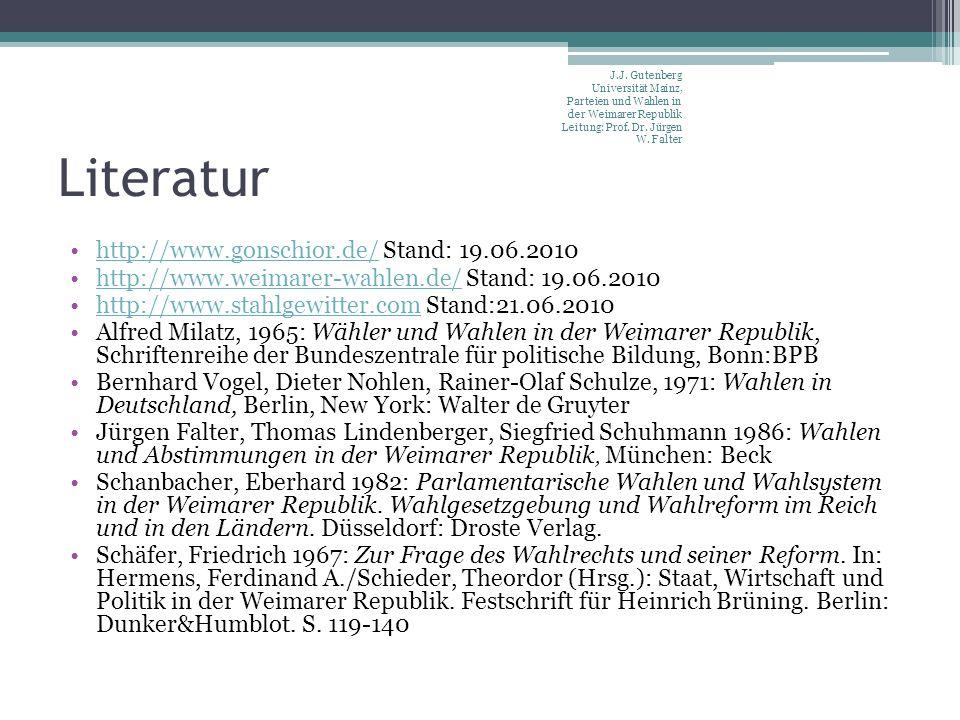 Literatur http://www.gonschior.de/ Stand: 19.06.2010http://www.gonschior.de/ http://www.weimarer-wahlen.de/ Stand: 19.06.2010http://www.weimarer-wahlen.de/ http://www.stahlgewitter.com Stand:21.06.2010http://www.stahlgewitter.com Alfred Milatz, 1965: Wähler und Wahlen in der Weimarer Republik, Schriftenreihe der Bundeszentrale für politische Bildung, Bonn:BPB Bernhard Vogel, Dieter Nohlen, Rainer-Olaf Schulze, 1971: Wahlen in Deutschland, Berlin, New York: Walter de Gruyter Jürgen Falter, Thomas Lindenberger, Siegfried Schuhmann 1986: Wahlen und Abstimmungen in der Weimarer Republik, München: Beck Schanbacher, Eberhard 1982: Parlamentarische Wahlen und Wahlsystem in der Weimarer Republik.