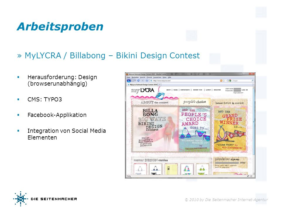© 2010 by Die Seitenmacher Internet-Agentur Arbeitsproben » MyLYCRA / Billabong – Bikini Design Contest Herausforderung: Design (browserunabhängig) CM