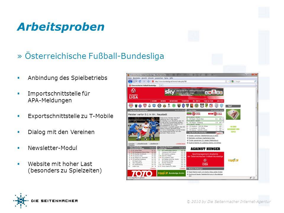 © 2010 by Die Seitenmacher Internet-Agentur Arbeitsproben » Österreichische Fußball-Bundesliga Anbindung des Spielbetriebs Importschnittstelle für APA