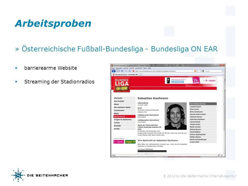 © 2010 by Die Seitenmacher Internet-Agentur Arbeitsproben » Österreichische Fußball-Bundesliga - Bundesliga ON EAR barrierearme Website Streaming der