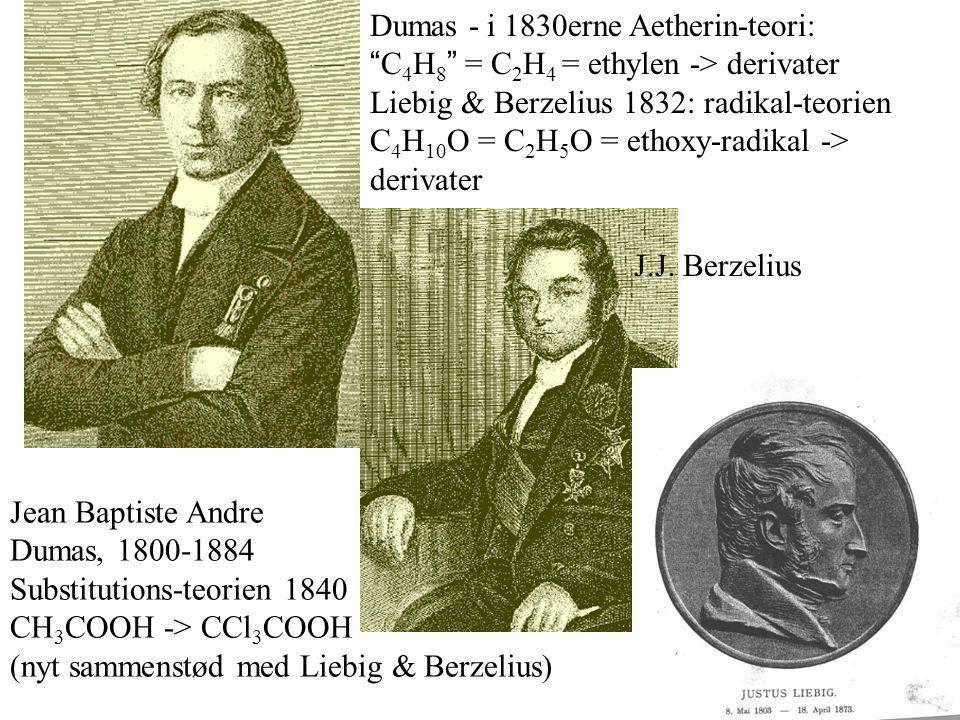 Jean Baptiste Andre Dumas, 1800-1884 Substitutions-teorien 1840 CH 3 COOH -> CCl 3 COOH (nyt sammenstød med Liebig & Berzelius) Dumas - i 1830erne Aetherin-teori: C 4 H 8 = C 2 H 4 = ethylen -> derivater Liebig & Berzelius 1832: radikal-teorien C 4 H 10 O = C 2 H 5 O = ethoxy-radikal -> derivater J.J.