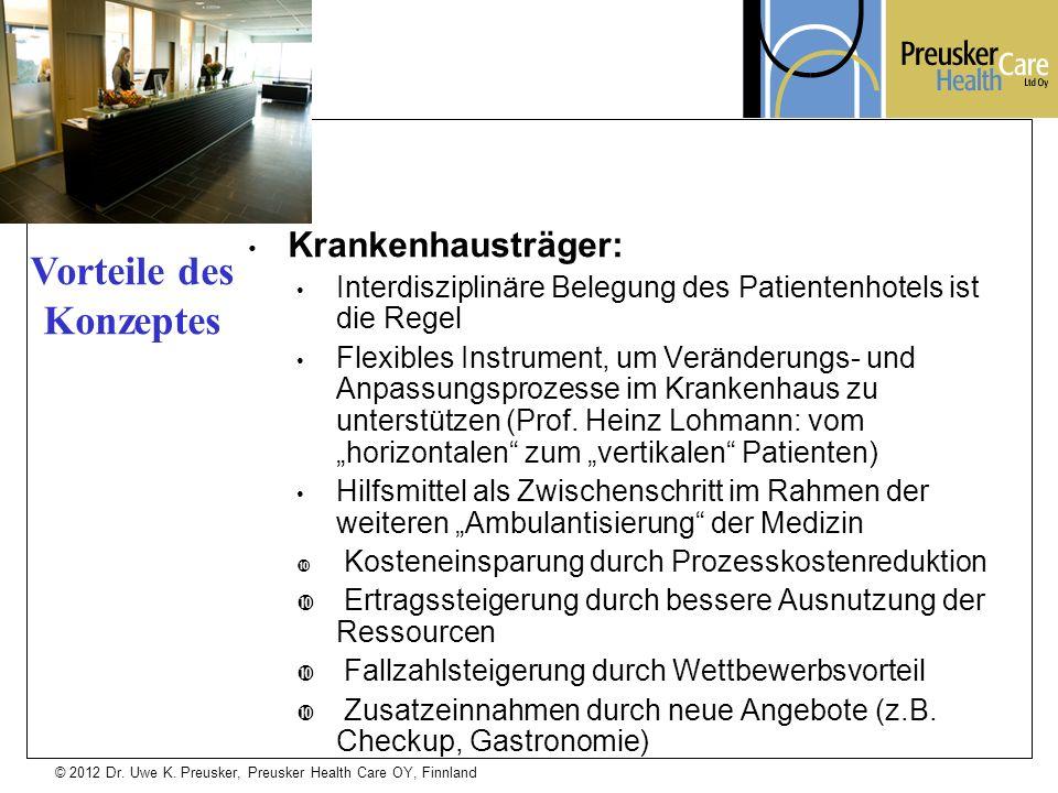 © 2012 Dr. Uwe K. Preusker, Preusker Health Care OY, Finnland Krankenhausträger: Interdisziplinäre Belegung des Patientenhotels ist die Regel Flexible