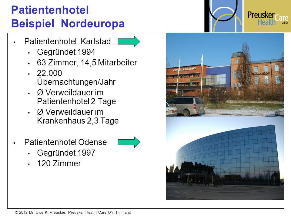 © 2012 Dr. Uwe K. Preusker, Preusker Health Care OY, Finnland Patientenhotel Karlstad Gegründet 1994 63 Zimmer, 14,5 Mitarbeiter 22.000 Übernachtungen