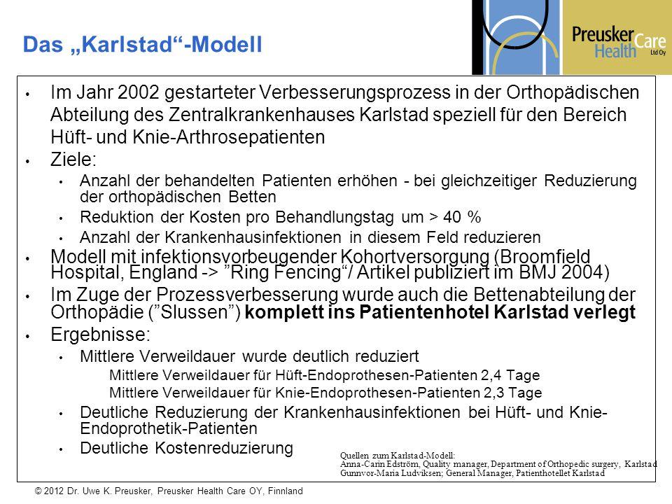 © 2012 Dr. Uwe K. Preusker, Preusker Health Care OY, Finnland Im Jahr 2002 gestarteter Verbesserungsprozess in der Orthopädischen Abteilung des Zentra