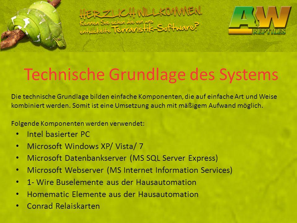 Technische Grundlage des Systems Intel basierter PC Microsoft Windows XP/ Vista/ 7 Microsoft Datenbankserver (MS SQL Server Express) Microsoft Webserv