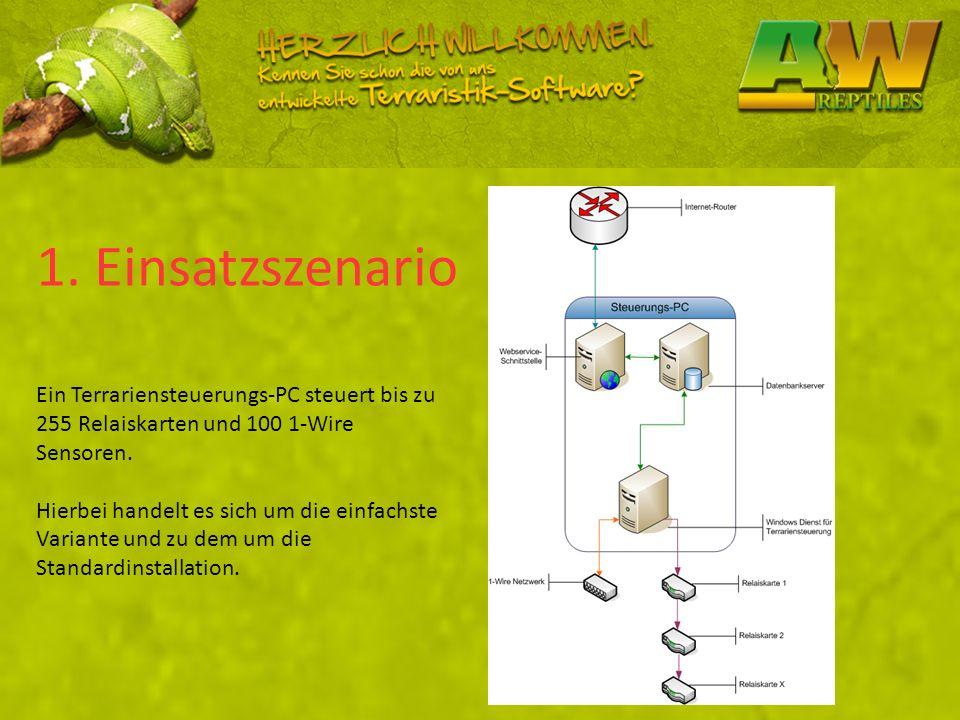 1. Einsatzszenario Ein Terrariensteuerungs-PC steuert bis zu 255 Relaiskarten und 100 1-Wire Sensoren. Hierbei handelt es sich um die einfachste Varia