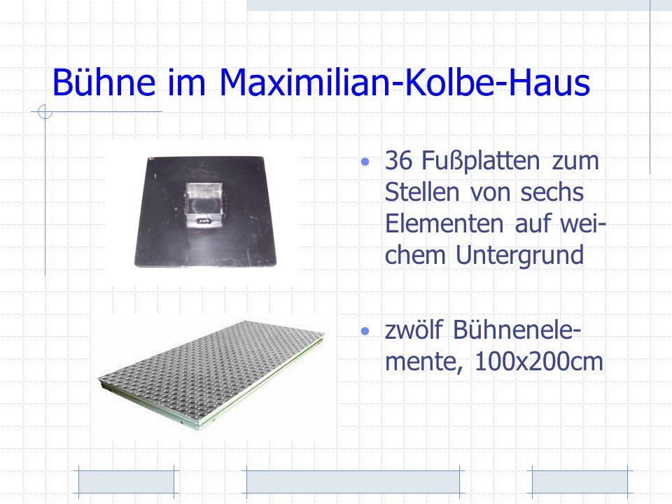 Bühne im Maximilian-Kolbe-Haus 36 Fußplatten zum Stellen von sechs Elementen auf wei- chem Untergrund zwölf Bühnenele- mente, 100x200cm