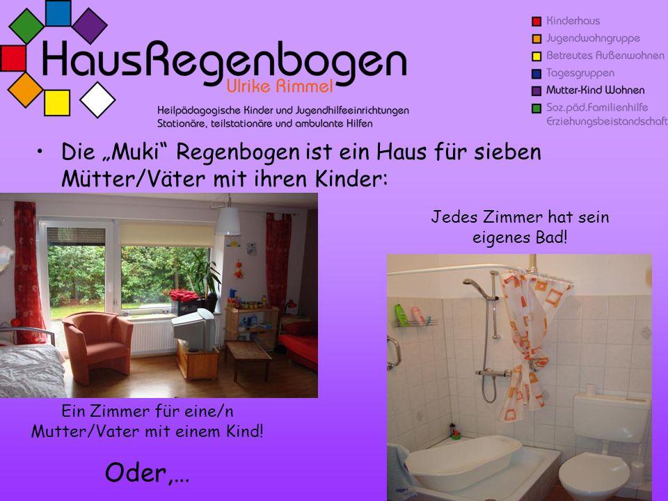 Die Muki Regenbogen ist ein Haus für sieben Mütter/Väter mit ihren Kinder: Ein Zimmer für eine/n Mutter/Vater mit einem Kind! Oder,… Jedes Zimmer hat