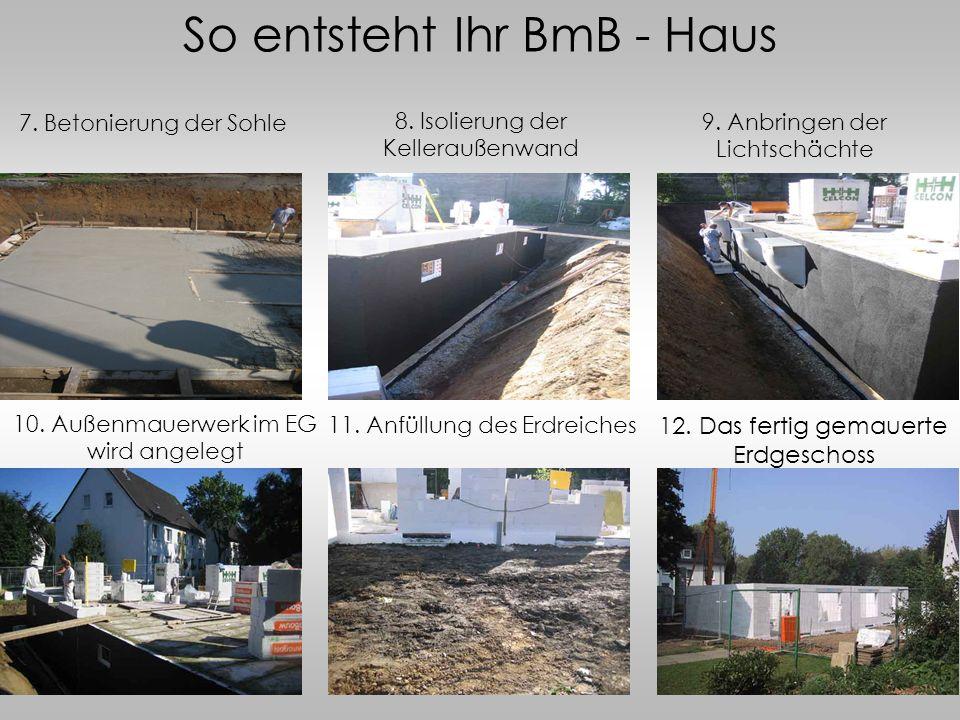 So entsteht Ihr BmB - Haus 7. Betonierung der Sohle 8. Isolierung der Kelleraußenwand 9. Anbringen der Lichtschächte 10. Außenmauerwerk im EG wird ang