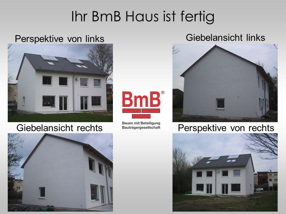 Ihr BmB Haus ist fertig Giebelansicht links Giebelansicht rechts Perspektive von links Perspektive von rechts