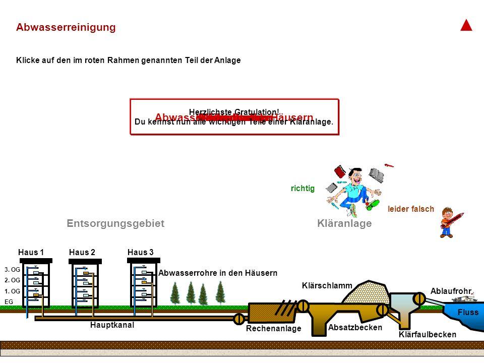 Haus 1Haus 2Haus 3 EntsorgungsgebietKläranlage RechenanlageAbsatzbecken Fluss Abwasserrohre in den HäusernKlärschlammAblaufrohrKlärfaulbecken Abwasserreinigung EG 1.