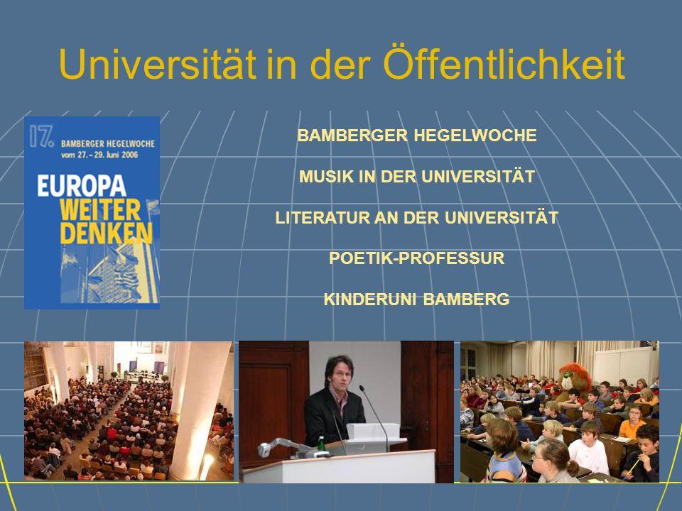 Universität in der Öffentlichkeit BAMBERGER HEGELWOCHE MUSIK IN DER UNIVERSITÄT LITERATUR AN DER UNIVERSITÄT POETIK-PROFESSUR KINDERUNI BAMBERG